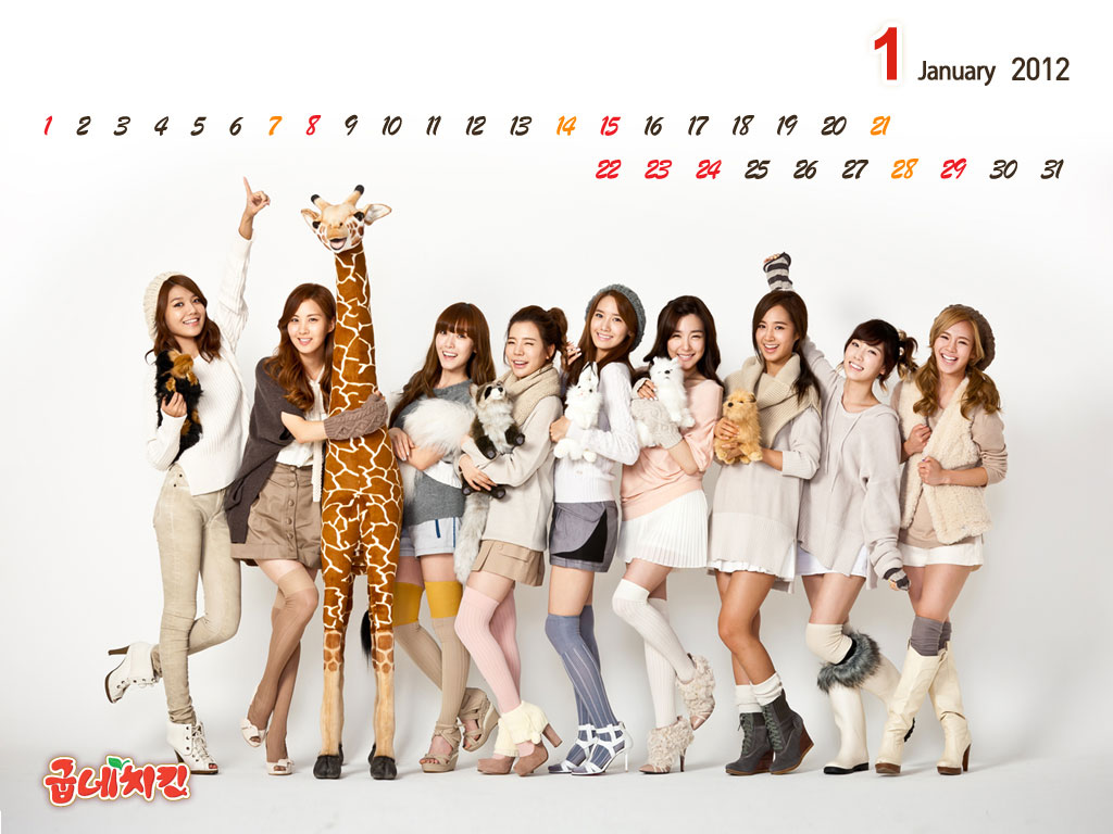 SNSD Goobne January 2012 calendar wallpaper