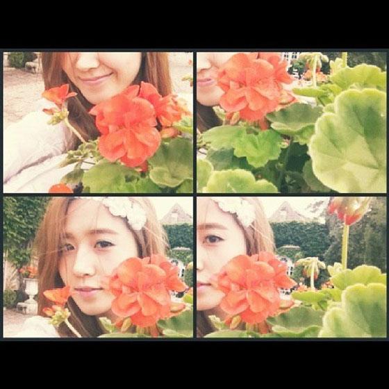 SNSD Yuri flower Instagram selca