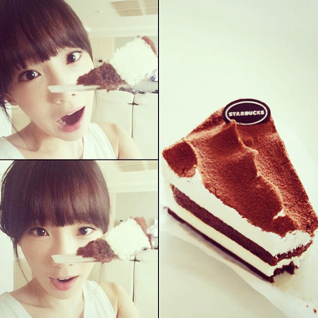 SNSD Taeyeon Instagram Starbucks cake