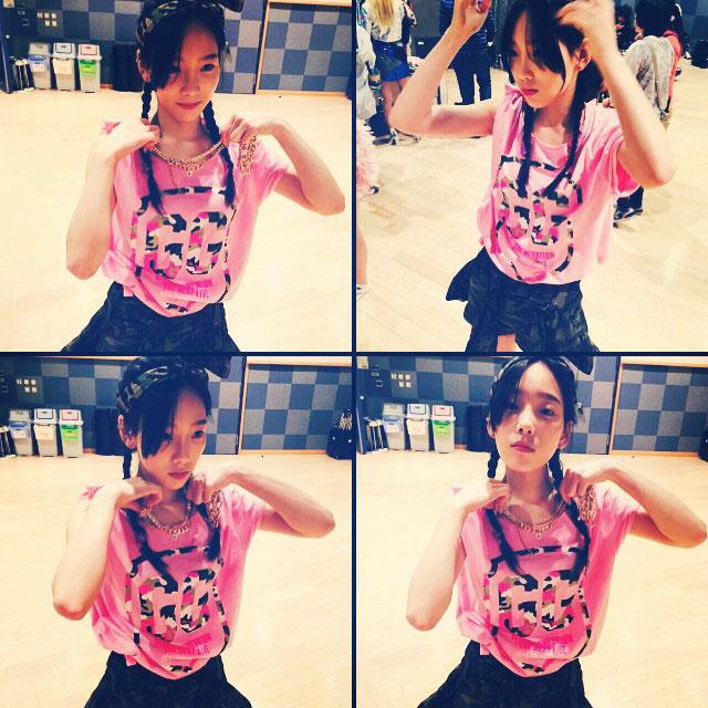 SNSD Taeyeon Instagram pink shirt